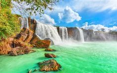Dray Nur Waterfalls, Summer, beautiful waterfall, Vietnam
