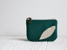 Love this color!    Eco friendly Pouch  Feather  Teal & White by MilkandHoneyHandbags, $20.00
