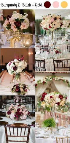 10 Burgundy and Blush Wedding Ideas For Your Wedding Centerpieces. Burgundy and Gold Wedding ideas.