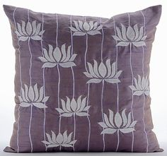 """Designer Purple Accent Pillows, 16""""x16"""" Silk Throw Pillows Cover, Square Lotus Flower Embroidered Pillows Cover - Two Tone Lotus  _______________________________________________________________________________    The design 'Two Tone Lotus' has been conceptualized and created, keeping in mind the finest details and needs to decorate your beautiful abode. It is a perfect addition to enhance your living room, bedroom, guestroom or office. I promise it will give a WOW factor to you and your…"""