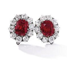 6.80 & 6.70-carat Burmese Ruby and Diamond Earrings, Duches of Roxburghe