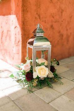 blush marsala peach burgundy bouquet dahlia ranunculus garden rose lantern ceremony