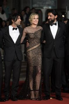 Director Fatih Akin Diane Kruger and Numan Acar arrive for the film In the Fade in competition at the 70th annual Cannes Film Festival in Cannes...