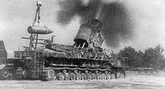 """Mörser Karl in action. Poland """"Karl-Gerät"""" (German literally """"Karl-device""""), also known as Thor and Mörser Karl, was a World War II German self-propelled siege mortar (Mörser) designed and built by Rheinmetall. Its heaviest munition was a 60 cm (24 in) diameter, 2,170 kg (4,780 lb) shell, and the range for its lightest shell of 1,250 kg (2,760 lb) was just over 10 km (6.2 mi). Each gun had to be accompanied by a crane, a heavy transport trailer, and several modified tanks to carry shells."""