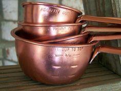 Vintage Measuring Cups Set Tin Aluminum Copper Retro Treasury Item 190. $10.00, via Etsy.