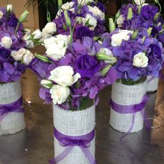 Purple Center pieces.