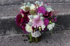 Color of the Year for 2014: PANTONE 18-3224 Radiant Orchid purple and gray and lavender wedding bouquet bridal flowers dahlias succulent scabiosa pod http://sophisticatedfloral.com/ pantone radiant orchid