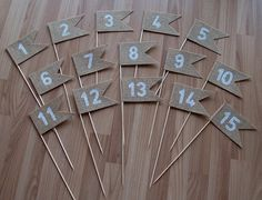 Burlap Table Numbers 1-15 table number pennants by Agitasworks