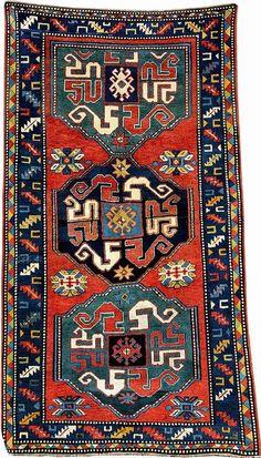 Chondzoresk Kazak (Cloudband-Kazak), South Caucasus Karabagh-Area, circa 1900, wool/wool,approx. 242 x 134 cm