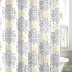 sunny and bright - grey and yellow shower curtain
