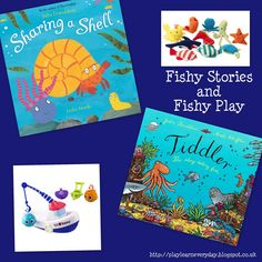 Play & Learn Everyday: Fishy Stories and Fishy Play - Leading up to World Book Day - Sharing a Shell & Tiddler Toddler Books, Toddler Play, Childrens Books, Sharing A Shell, Story Sack, Book Reviews For Kids, Ocean Day, Oceans Of The World, English Language Arts