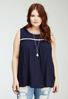 FOREVER 21+ Embroidery-Trimmed Tunic