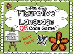 COMMON CORE aligned and TECHNOLOGY engagement!  Kids LOVE this interactive method for practicing the common figures of speech including similes, metaphors, hyperboles, alliterations, and personification!  Students will use 20 different task cards to cooperatively determine a figure of speech and then scan a QR code for immediate feedback!Great for stations or intervention!  https://www.teacherspayteachers.com/Product/QR-Sorting-Game-Figurative-Language-for-Intermediate-Grades-1762460