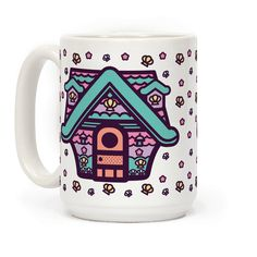 Mermaid House - Show your love for ACNL mermaid decor with this Cute Mermaid house mug. This design features an illustration of a pink and teal mermaid house along with some cute little stars and sea shells.