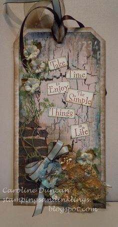 designed by Caroline Duncan ~ Stampings and Inklings: mixed media tag