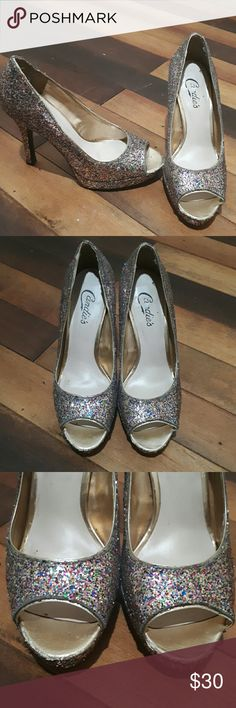 Candies Peep toe Heels Open to offers Used 3 New Years in a Row.  Good condition only tiny scuff marks on the front but not too noticeable once you wear them. Multicolor glittery great for the Holidays. candies Shoes Heels