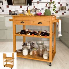 Cool SoBuy XXL Bamboo Kitchen Trolley Cart with Unfolding Countertop