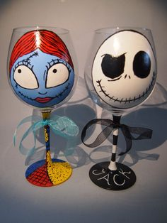 Jack Skellington/Nightmare Before Christmas wine glasses