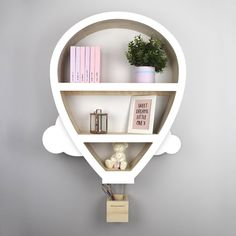 Hot Air Balloon Nursery Shelves The lovely hot air balloon shaped children's wall shelf with cloud effect, usable hanging basket. Baby Furniture, Childrens Bedroom Storage, Hot Air Balloon Nursery, Nursery Shelves, Baby Room Decor, Personalized Nursery, Shelves, Nursery Wall Shelf, Wall Shelves
