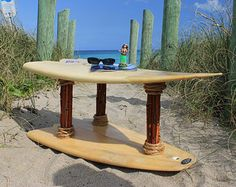 Surfboard table made from real surfboard. Use as coffee table or shelves. Surfboard furniture. Surf decor. Surfboard decor. Surf art