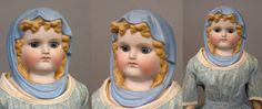 Queen Luise of Prussia Parian Lady with RARE Molded Blue Headscarf in from kathylibratysantiques on Ruby Lane