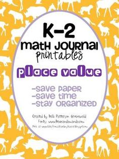 K-2 Place Value printables for Math Journals