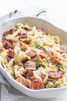 Must-Try Keto Cabbage Recipes Easy Sausage and Cabbage Skillet Dinner is a fast and delicious meal.Easy Sausage and Cabbage Skillet Dinner is a fast and delicious meal. Low Carb Maven, Low Carb Keto, 7 Keto, Vegetarian Keto, Vegan Keto, Sausage Cabbage Skillet, Kielbasa And Cabbage, Turkey Sausage, Fried Cabbage With Sausage