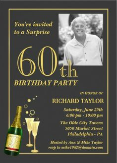 Insert Your Own Photo Mens Birthday Party Invitations Easy To Customize