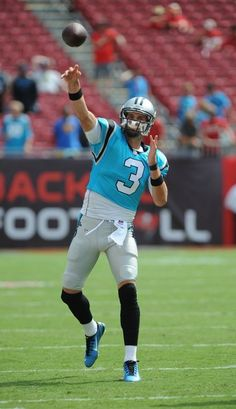 Quarterback Derek Anderson (3) of the Carolina Panthers warms up before the game against the Tampa Bay Buccaneers at Raymond James Stadium on September 7, 2014 in Tampa, Florida.