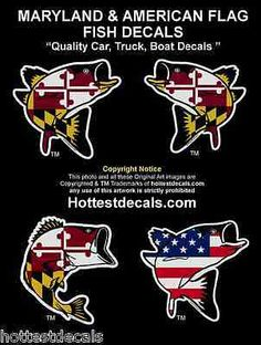 Maryland flag rockfish #decal large mouth bass fish #vinyl boat sticker #american,  View more on the LINK: http://www.zeppy.io/product/gb/2/171958024519/