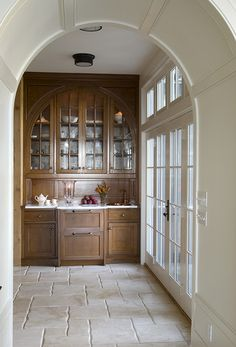 butlers pantry - I like the idea of the French Doors next to Butlers pantry and that you could use as outdoor Entertainment/bar station. Maine Beaches, Built In Hutch, Built In Furniture, Enchanted Home, Butler Pantry, Stone Flooring, Luxury Interior Design, Cottage Homes, Beach Cottages