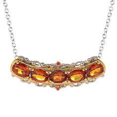 """157-766 - Gems en Vogue 18"""" 3.04ctw Madeira Citrine & Orange Sapphire Bar Necklace"""
