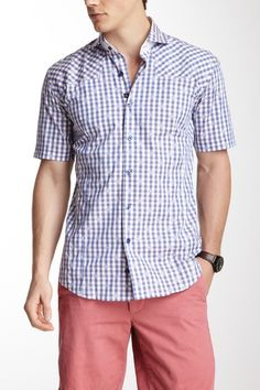 differently 1f904 26cc5 Bogosse Mini Aramis 43 Short Sleeve Gingham Shirt - navy plaid Gingham Shirt,  Guy Style