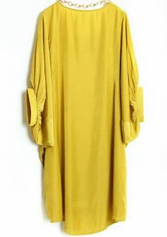 #SheInside Yellow Batwing Puff Sleeve Loose Dress - Sheinside.com