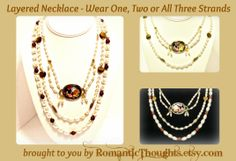 Three Strand Pearl Layered Necklace - wear one, two or all three strands - from RomanticThoughts.etsy.com