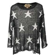 Wildfox Seeing Stars Black Star Patterned Knit Sweater ($365) ❤ liked on Polyvore