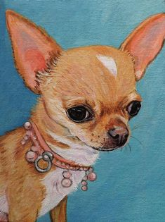 Chihuahua portrait acrylic on canvas board by velvetdressx on Etsy Chihuahua Drawing, Poodle Drawing, Teacup Chihuahua, Chihuahua Puppies, Animal Sketches, Animal Drawings, Dachshund, Baby Dogs, Dog Portraits