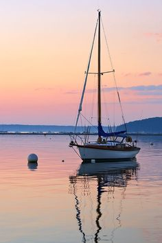 """An anchored sailboat and sunrise reflected in the calm waters of Frenchman Bay, Bar Harbor, Mt. The """"Bar"""" and Bar Harbor are seen in the background. Sailboat Painting, Sailing Holidays, Boat Names, Boat Art, Desert Island, Sail Away, Jolie Photo, Watercolor Landscape, Landscape Photography"""