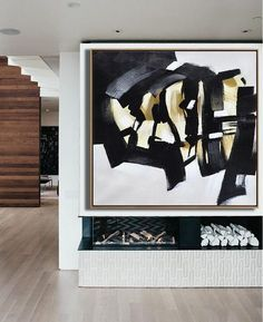 CZ Art Design - Hand-Painted Minimal painting on canvas, square abstract painting for minimalist interiors.