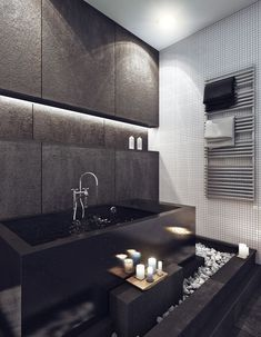 Innovative Stylish Apartment Interior Polished in Black for Cool Image: Rectangular Bathtub Design In Black Color In Modern Apartment Interior Design Grey Bathrooms, Beautiful Bathrooms, Bathroom Black, Bathroom Ideas, Bathroom Wall, Bathroom Lighting, Black Bathtub, Deep Bathtub, Bathroom Styling