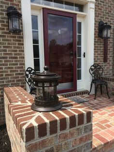 www.SharperCut.com - Brandywine, MD - close up of new brick entry way for home with small wing walls to accent house Wing Wall, Entry Ways, Close Up, Brick, Walls, Home Appliances, Patio, Wood, Outdoor Decor