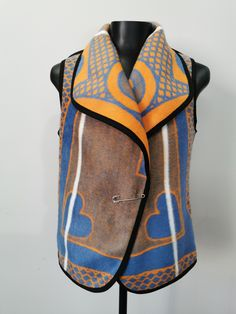 Blue/Orange Basotho Blanket Waistcoat with shaw collar and fastened with the traditional blanket pin called phini. Blue Orange, African, Bags, Fashion, Handbags, Moda, Fashion Styles, Fashion Illustrations