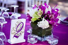 Going low doesn't have to mean boring. Browse our picks of 60 blooming-perfect low centerpieces that will inspire you to create your own fab wedding centerpieces - with almost any container. Orchid Centerpieces, Simple Centerpieces, Centerpiece Decorations, Wedding Centerpieces, Purple Centerpiece, Cute Wedding Ideas, Wedding Inspiration, Wedding Stuff, Destination Wedding