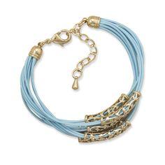 Adjustable Multistrand Blue Cord Fashion Bracelet with Gold Tone Slides