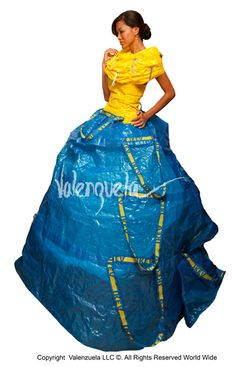 Eco-Art Fashion Gown from Reused Plastic IKEA Bags