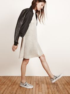 black puffer jacket + white dress + cool sneakers