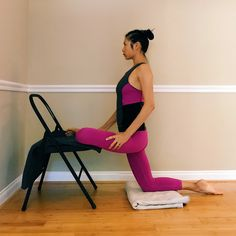 DETAIL + DEPTH | Next in the sequence toward Urdhva Kukkutasasna is more hip opening with a chair. 🐔 . 1. Kneeling on a folded blanket, take one leg up onto the chair seat for Pigeon Prep. Stand firmly on the lower knee as if in Tadasana to prevent...