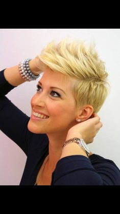 Take a little off the top! Love the fauxhawk look with this pixie cut. Could I pull it off?