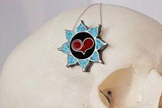 Sugar Skull Dahlia with Heart Center Pendant...    $95.00