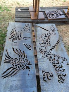 Corten steel panels 'The Dragonfly' and 'The Fish' ready for natural rusting. Both pieces designed and handcrafted by me. I use a handheld plasma cutter to cut delicate patterns in 3mm weathering steel. Find me on Facebook or www.metalartbyinge.com.au